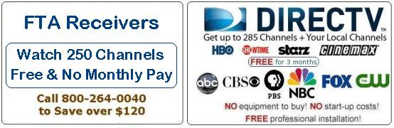Free international satellite TV receiver when you bundle with Direc TVsatellite