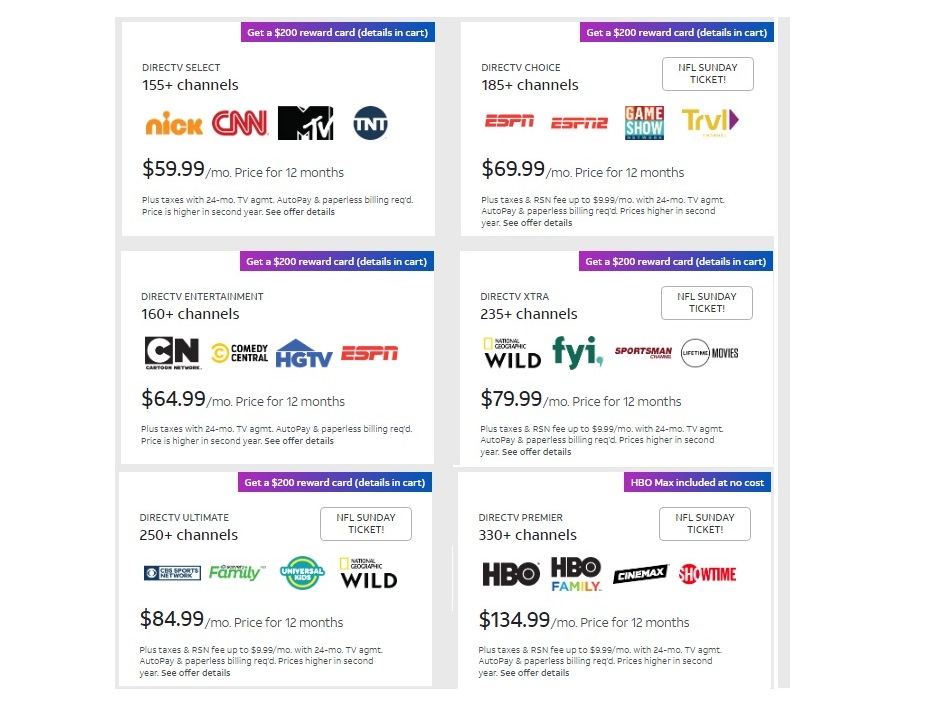 new DirecTV packages