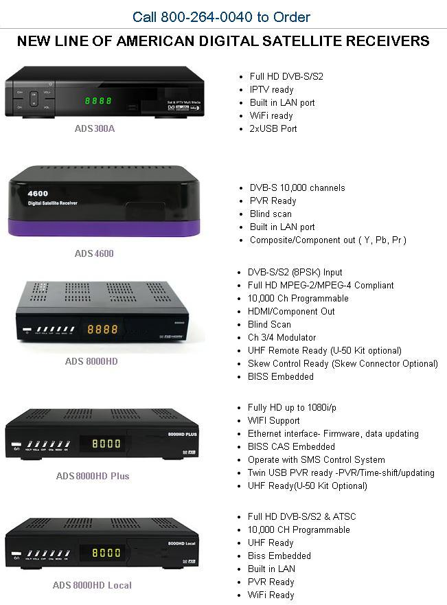 new line of American Digital Satellite Receivers